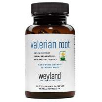 Weyland Brain Nutrition: Certified Organic Valerian Root 550mg (60 Count), 60 Vegetarian Capsules, Supports Calm, Relaxation, and Restful Sleep