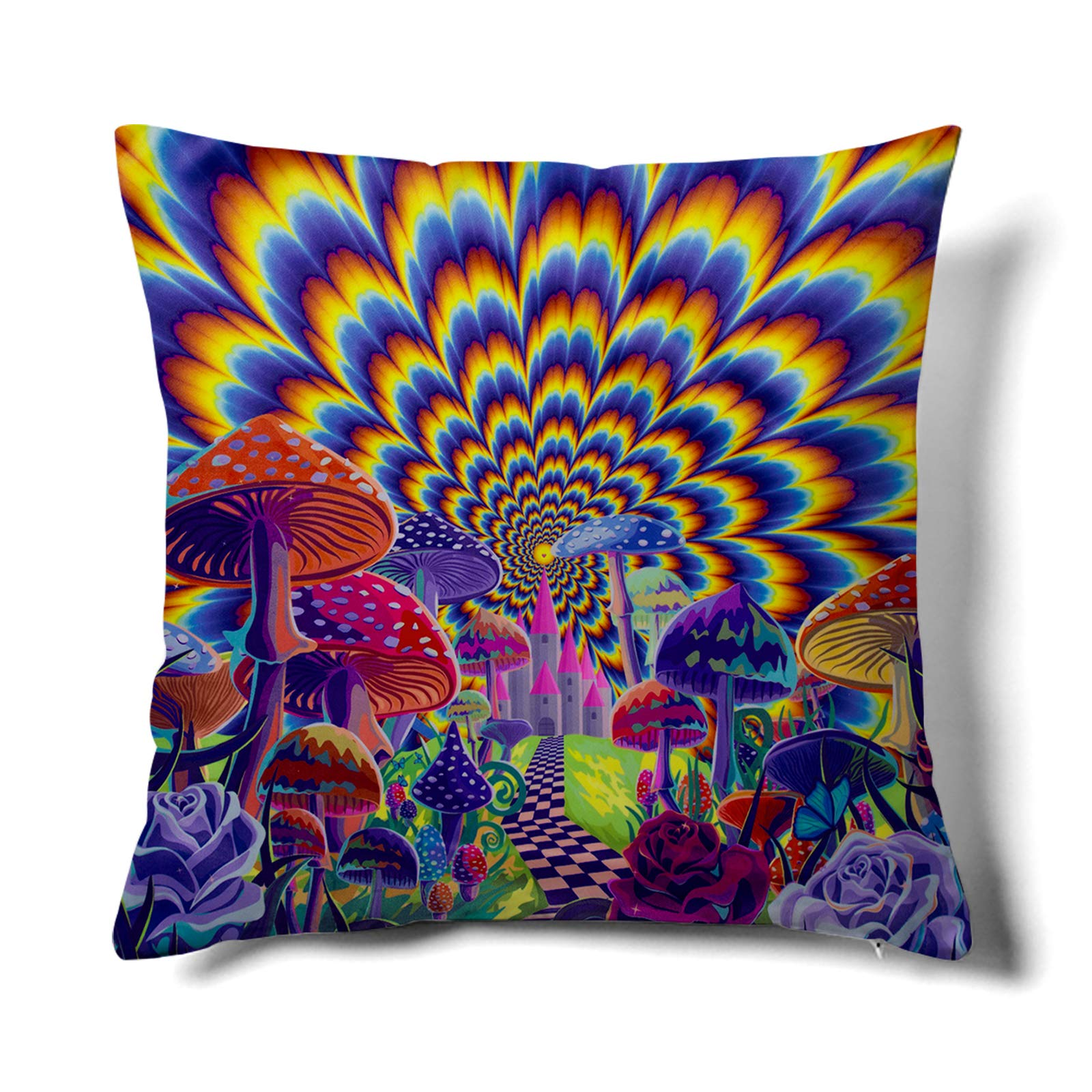 HMS Happy Memories Velvet Pillow Cases Square Decorative Throw Pillow Cover 45x45cm(18x18 Inch) for Couch Sofa Bed Living Room Bedroom (Multicolor Hippie)
