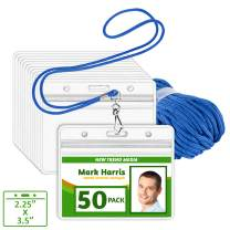 EcoEarth Lanyard with Horizontal ID Badge Holder (Blue, 2.25x3.5, 50 Pack), Resealable Clear Tag and Lanyards, Lanyard ID Card Holder Bulk, Name Badge Lanyard Set, Plastic Badge Holder with Zipper