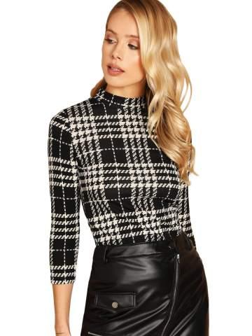 ROMWE Women's Casual Mock Neck Plaid Slim Fit Workwear Blouse Top