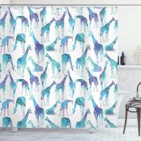 """Lunarable Giraffe Shower Curtain, Abstract Animal Various Poses Sitting Eating Walking Inspiration, Cloth Fabric Bathroom Decor Set with Hooks, 75"""" Long, Teal Blue"""