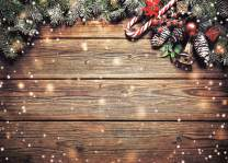 LYWYGG 7x5FT Christmas Backdrops for Photography Christmas Wooden Backdrop Snow Day Wooden Wall Photography Background Christmas Photo Backdrop Baby Shower Backdrop CP-200