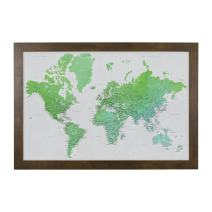 Enchanting Emerald Watercolor World Travel Map with Rustic Brown Frame