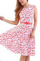 YMING Women's Vintage Cocktail Swing Dress Floral Print A Line Sleeveless Midi Dress