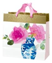 """Hallmark 10"""" Large Square Gift Bag (Watercolor Flower and Vase) for Birthdays, Mothers Day, Anniversary, Bridal Showers and More"""