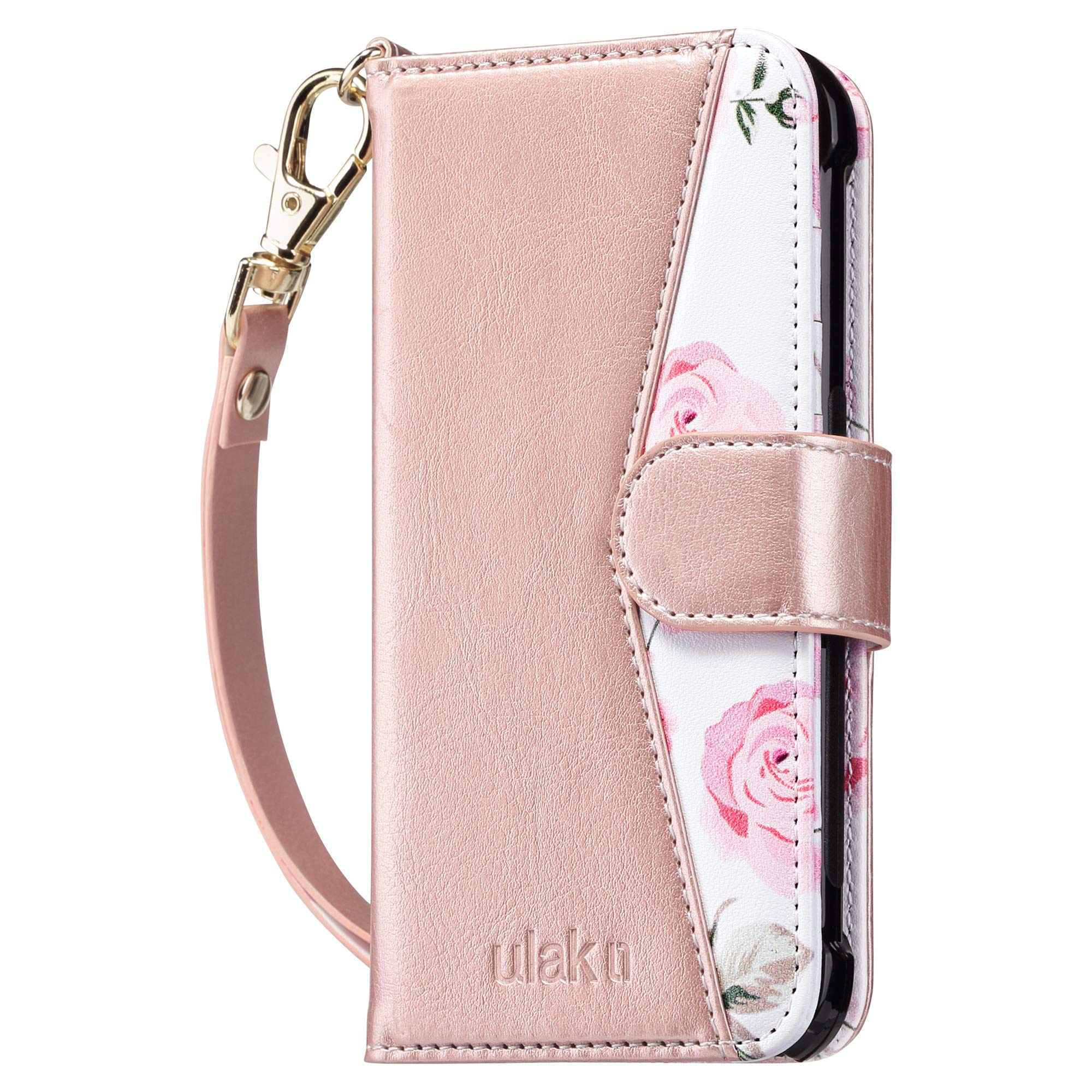 ULAK iPod Touch 7 Wallet Case, iPod Touch 6 Case with Card Holder, Premium PU Leather Magnetic Closure Protective Folio Cover for iPod Touch 7th/6th/5th Generation, Rose Gold/Floral