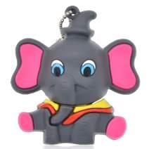 Thumb Drive 64GB Cute USB Flash Drive Elephant, Kepmem High Speed Pen Drive Rubber Gray Jump Drive, 64 GB USB 3.0 Memory Stick Data Storage