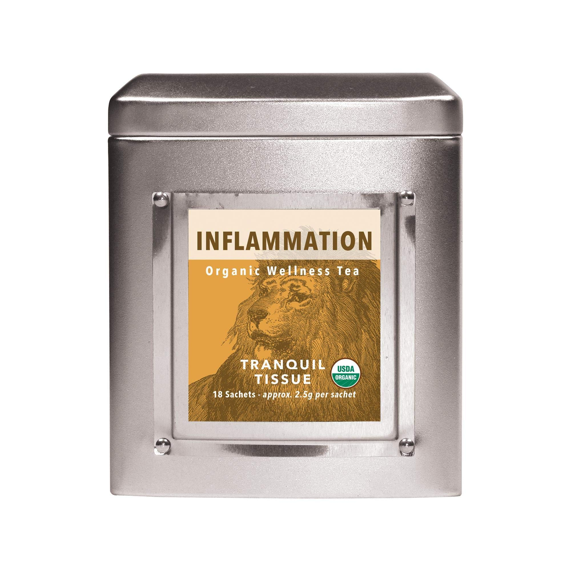 White Lion Inflammation (Tranquil Tissue) Wellness Tea   100% USDA Certified Organic   Antioxidant-Rich in Turmeric, Black Pepper, & Cacao Nibs   18 Count Tin
