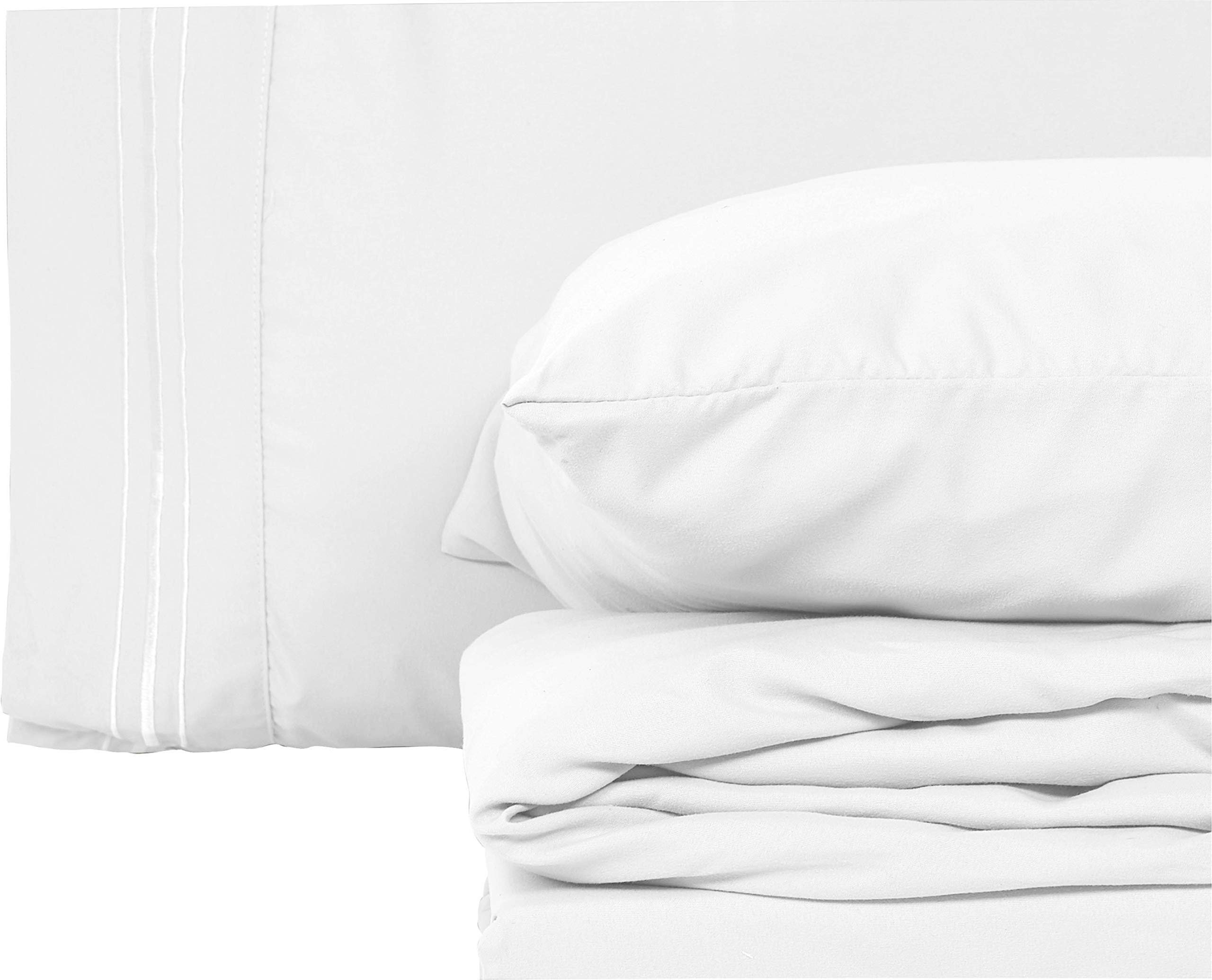 Style Basics Super Soft Brushed Microfiber Bed Sheet Set - 1800 Series Easy-Clean (True White, Full)