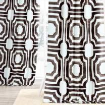 HPD Half Price Drapes PRTW-D23-84 Mecca Printed Cotton Curtain (1 Panel), 50 X 84, Brown