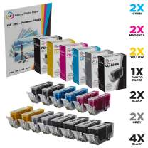 LD Compatible Ink Cartridge Replacements for Canon PGI-220 & CLI-221 (4 Pigment Black, 2 Black, 2 Cyan, 2 Magenta, 2 Yellow, 2 Gray, 14-Pack)