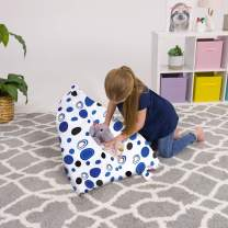 Posh Stuffable Stuffed Animal Storage Bean Bag Chair Kids, Teens and Adults-Stuffie Seat Cover ONLY, 100L-Medium, Canvas Bubbles Blue and White