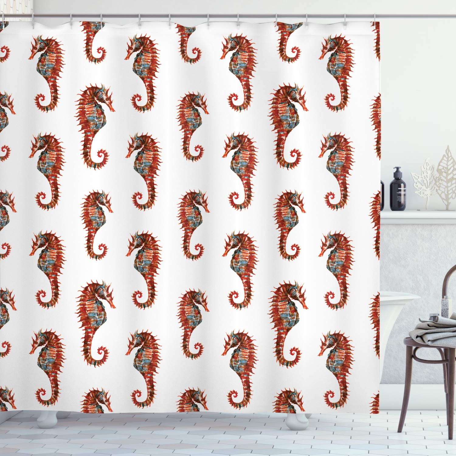 """Ambesonne Animal Shower Curtain, Watercolor Seahorse Pattern with Vibrant Effect Beauty of Nature Design, Cloth Fabric Bathroom Decor Set with Hooks, 75"""" Long, Dark Orange"""