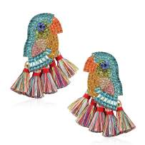 Tassel Statement Colorful Bird Earrings for Women Handmade Drop Dangle for Daily Wedding Party With Gift Box