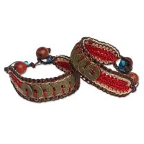 """NOVICA Woven Wristband Bracelets with Coins and Wooden Beads, 6"""", Coins of Passion' (Pair)"""