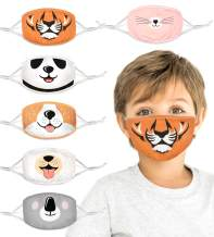 100% Organic Cotton Kids Washable, Reusable Face Masks with Adjustable Ear Loops for Children 3-8 yrs. Two Layers of Cloth for Boys and Girls. (Panda, Koala, Dog, Tiger, cat, Corgi, 6 Pk)