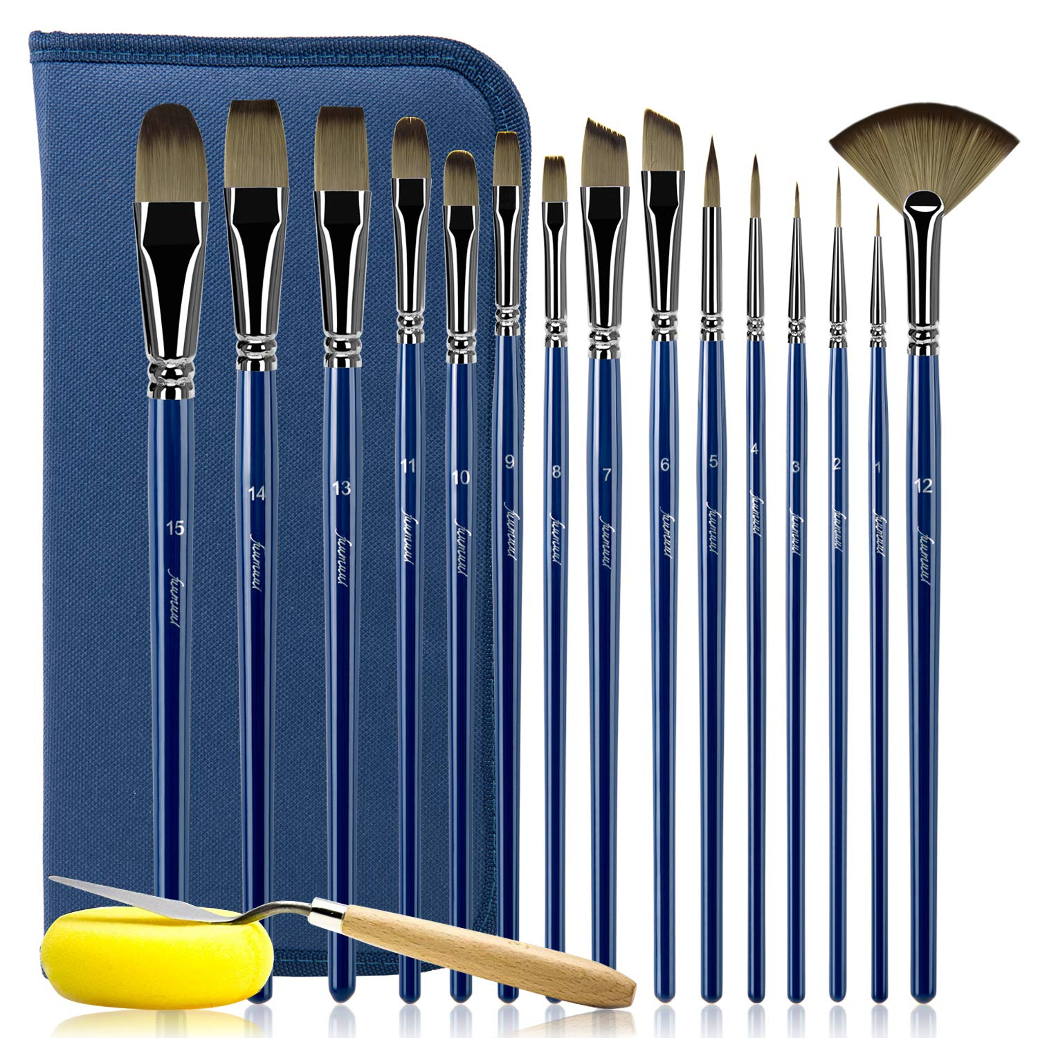 Watercolor Paint Brush Set - 15 Different Sizes Professional Artist Brushes for Acrylic Painting Oil Gouache - Perfect Gift for Artists, Adults & Kids (Navy Blue)