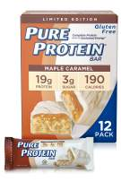 Pure Protein Bars, High Protein, Nutritious Snacks to Support Energy, Low Sugar, Gluten Free, Maple Caramel, 1.76 oz, Pack of 12