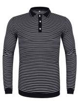 poriff Men's Casual Striped Long Sleeve Polo Shirt Slim Fit Knitted Cotton Polo T Shirts