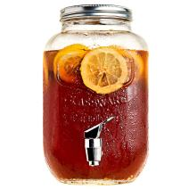 Iced Beverage Dispenser with Metal Lid - Mason Jar - 1 Gallon - Glass - Single