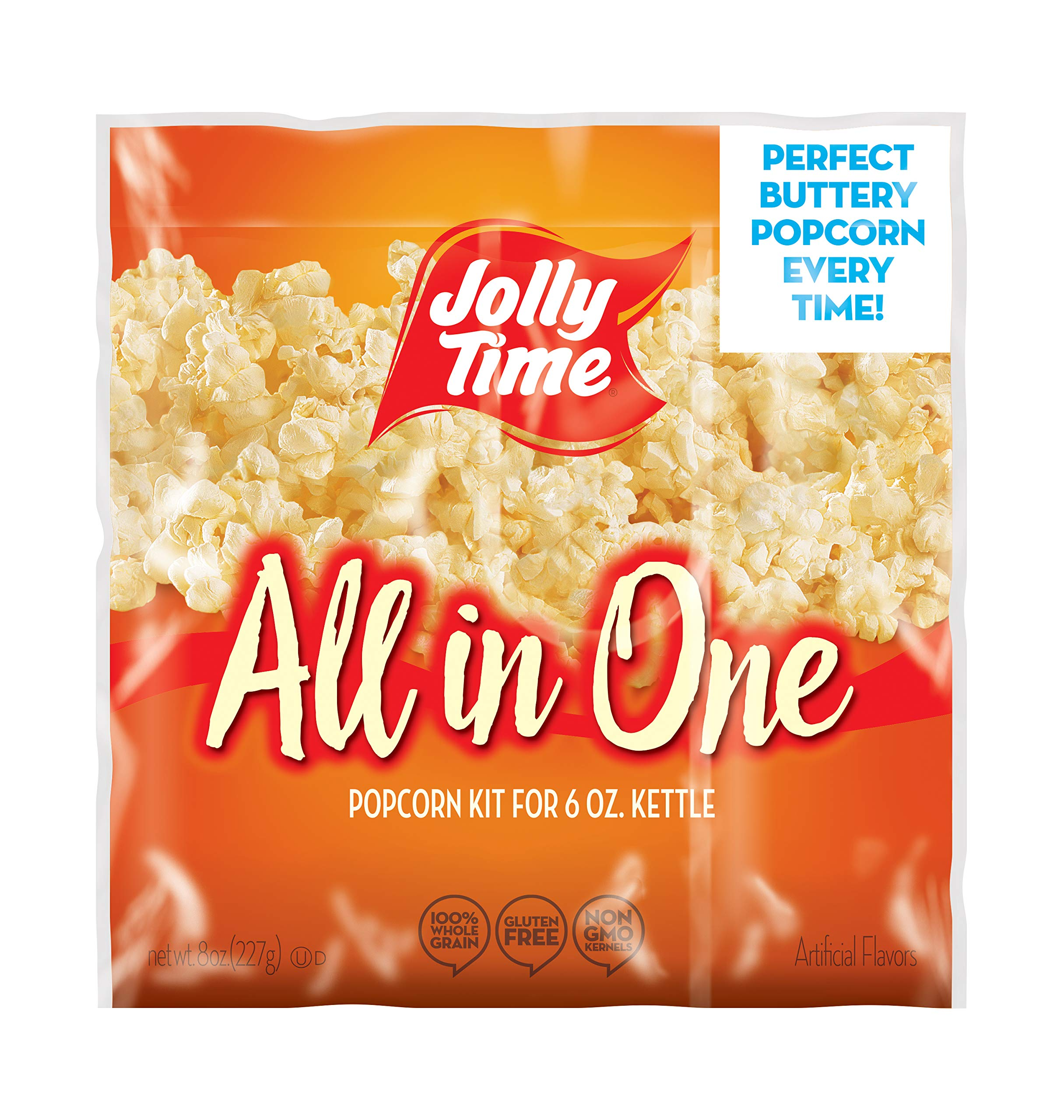 Jolly Time All In One Kit for 6 oz. Popcorn Machine | Portion Packet with Kernels, Oil & Salt for Commercial, Movie Theater or Air Popper (net wt. 8 Oz. each, Pack of 36)