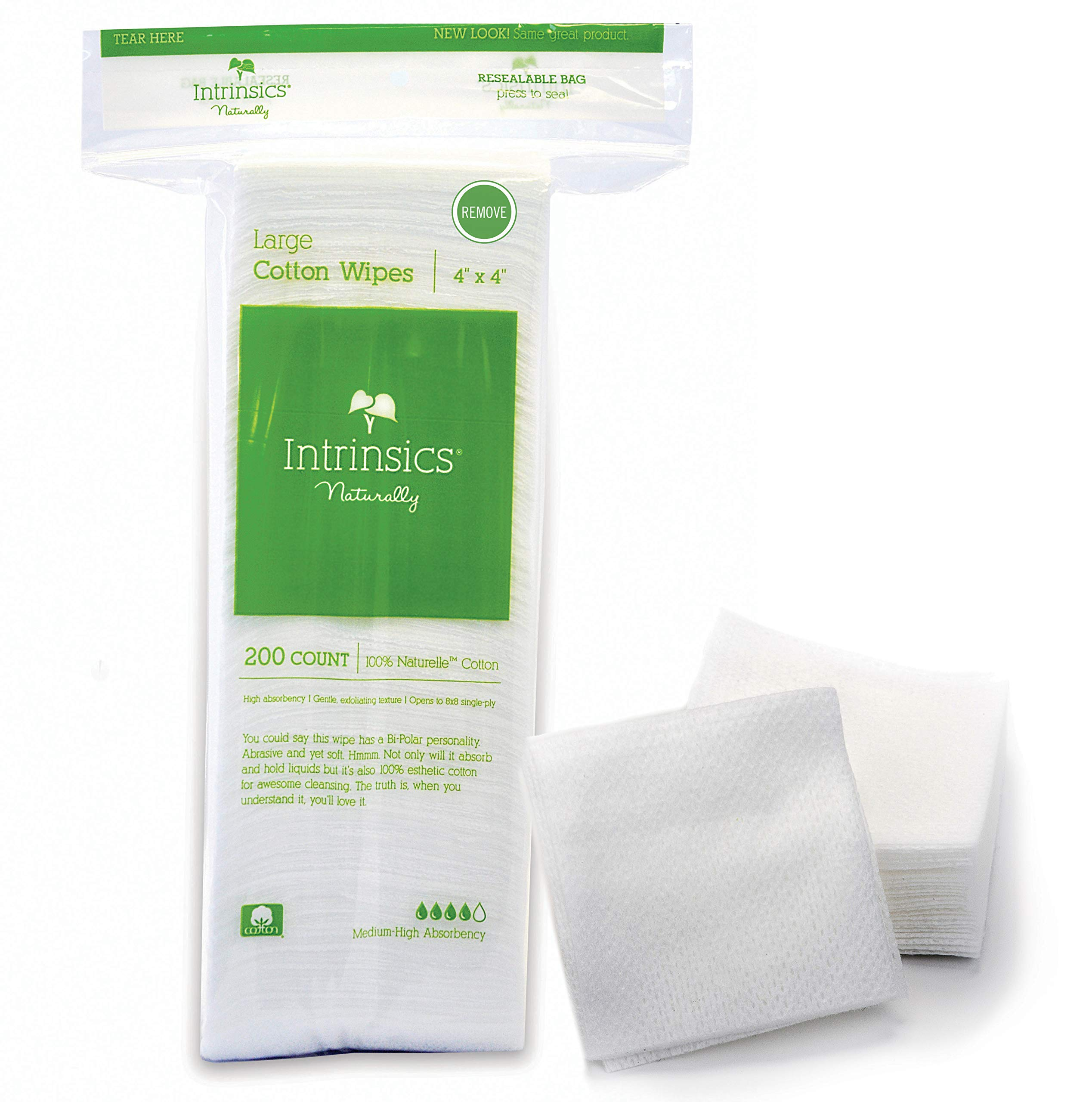 """Intrinsics Large Cotton Wipes - 4"""" x 4"""", 8-ply 100% Cotton, 200 Count"""