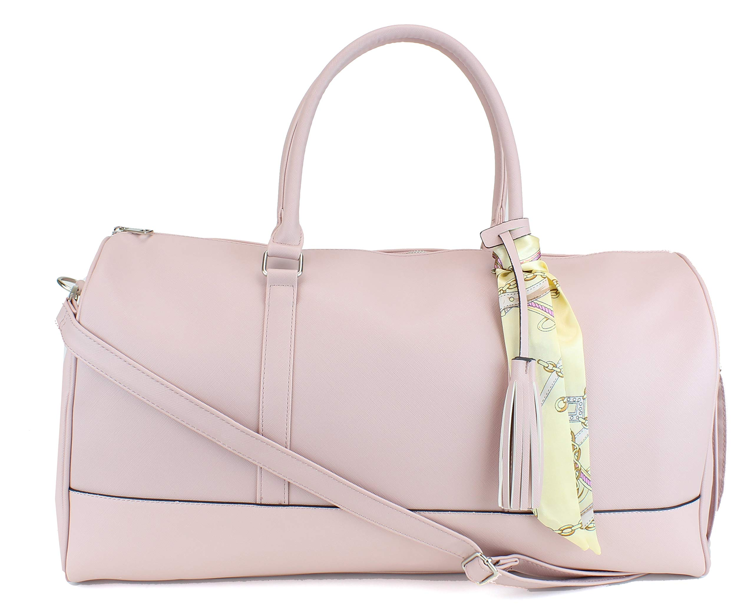 """Women's Large PU Leather Weekender Duffel Bag with Satin Interior - Big 22"""" Carry-On Size - Pink"""