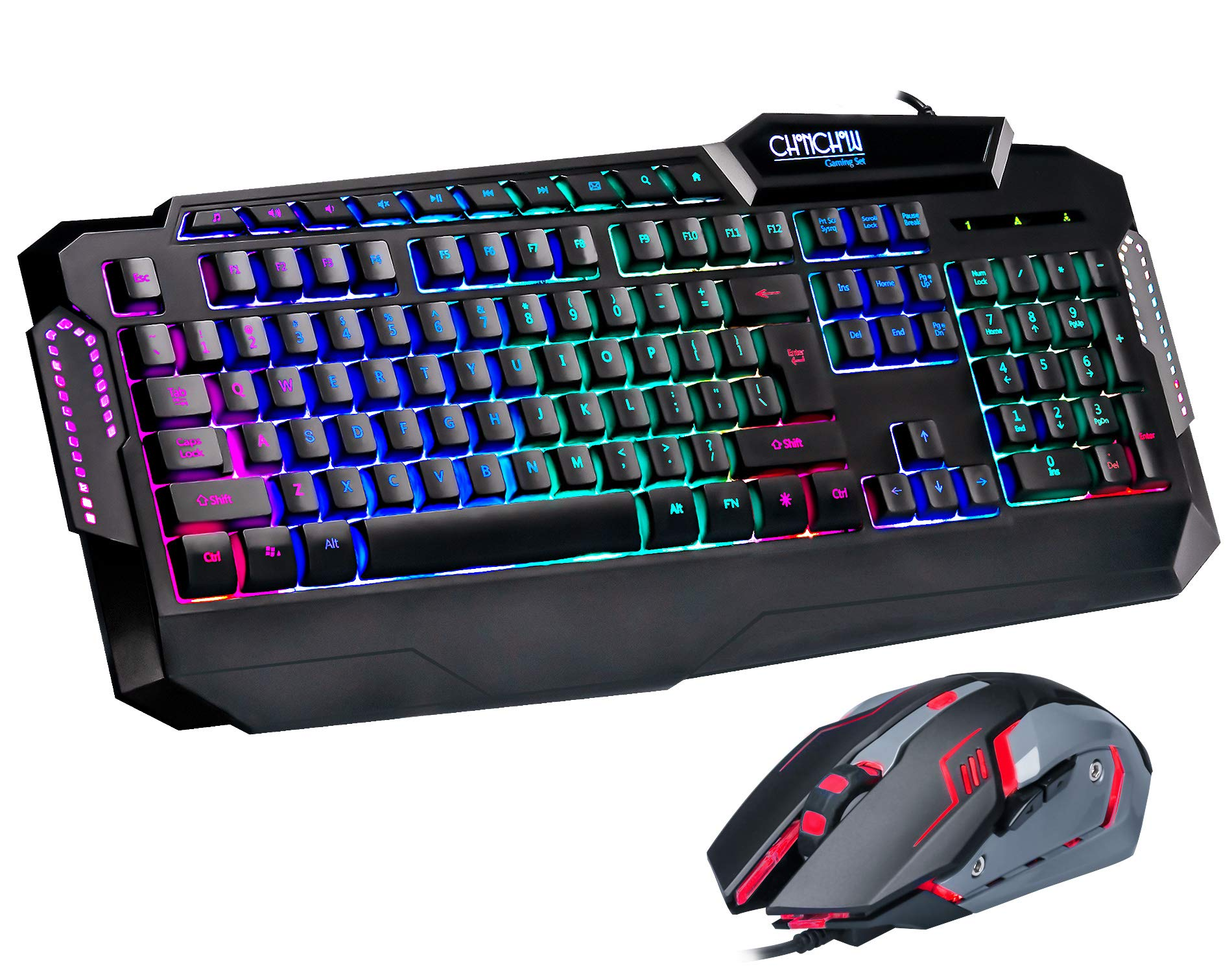 Gaming Keyboard And Mouse Combo Chonchow Usb Led Rainbow Backlit Keyboard For Ps4 Mac Xbox Pc Windows Laptop