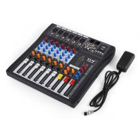VEVOR 6 Channel Audio Mixer with 48V Phantom Power Mixing Console USB MP3 Audio Sound Mixer for Recording DJ Stage Karaoke Music Appreciation (6-channel)