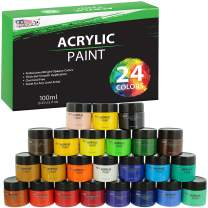 U.S. Art Supply 24 Color Acrylic Paint Jar Set 100ml Jars (3.33 fl oz) - Professional Artist Bright and Vivid Opaque Colors Giving You The Full Range of Color Spectrum in one Set