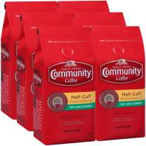 Community Coffee Half Caff Medium Dark Roast Ground Coffee, 12 Ounces (Pack Of 6)