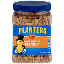 PLANTERS Honey Roasted Peanuts, 34.5 oz. Resealable Jars (Pack of 2) - Premium Quality Peanuts - Sweet and Salty Snack - Sweet Peanut Snack - Wholesome Snacking - Kosher
