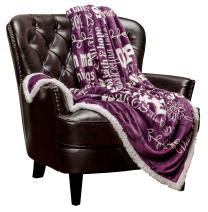Chanasya Hope and Faith Prayer Inspirational Message Gift Throw Blanket - Positive Energy Love Comfort Caring Thoughtful Uplifting Healing Gift for Best Friend Women Men - Purple Aubergine Blanket