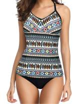 Yonique Tankini Swimsuits for Women Tribal Printed Bathing Suit 2 Piece Strappy Swimwear