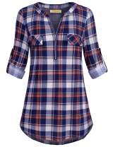 MIXJOY Baikea Women's 3/4 Rolled Sleeve Zipped V Neck Plaid Shirt Casual Tunic Blouses