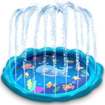 heytech Sprinkler for Kids, Splash Pad, and Wading Pool for Learning Children's Sprinkler Pool, 60'' Inflatable Sprinkler Summer Toys Water Toys, Outdoor Swimming Pool for Babies, Toddlers, Kids