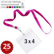 Durably Woven Lanyards & 3 x 4 Horizontal ID Badge Holders ~Premium Quality, Waterproof & Dustproof ~ for Moms, Teachers, Tours, Events, Businesses, Cruises & More (25 Pack, Pink) by Stationery King