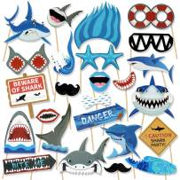Konsait Shark Photo Booth Props(25Count), Ocean Sea Themed Jawsome Shark Party Photo Props Birthday Party Photo Booth Props for Kids Boys Party Decoration Blue Shark Zone Party Supplies