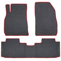 San Auto Car Floor Mat Rubber Custom Fit for Cadillac XTS 2019 2018 2017 2016 2015 2014 2013 Black Red Auto Floor Liners All Weather Heavy Duty Odorless