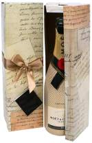 Champagne Gift Box x2 - Reusable Caddy - Easy to Assemble - No Glue Required - Ribbon Tie and Gift Tag Included - Vintage Letter Design - Romanee Collection - EZ Gift Box by Endless Art US