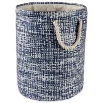 DII Woven Paper Storage Basket Collapsible and Convenient, Small Round, Nautical Blue
