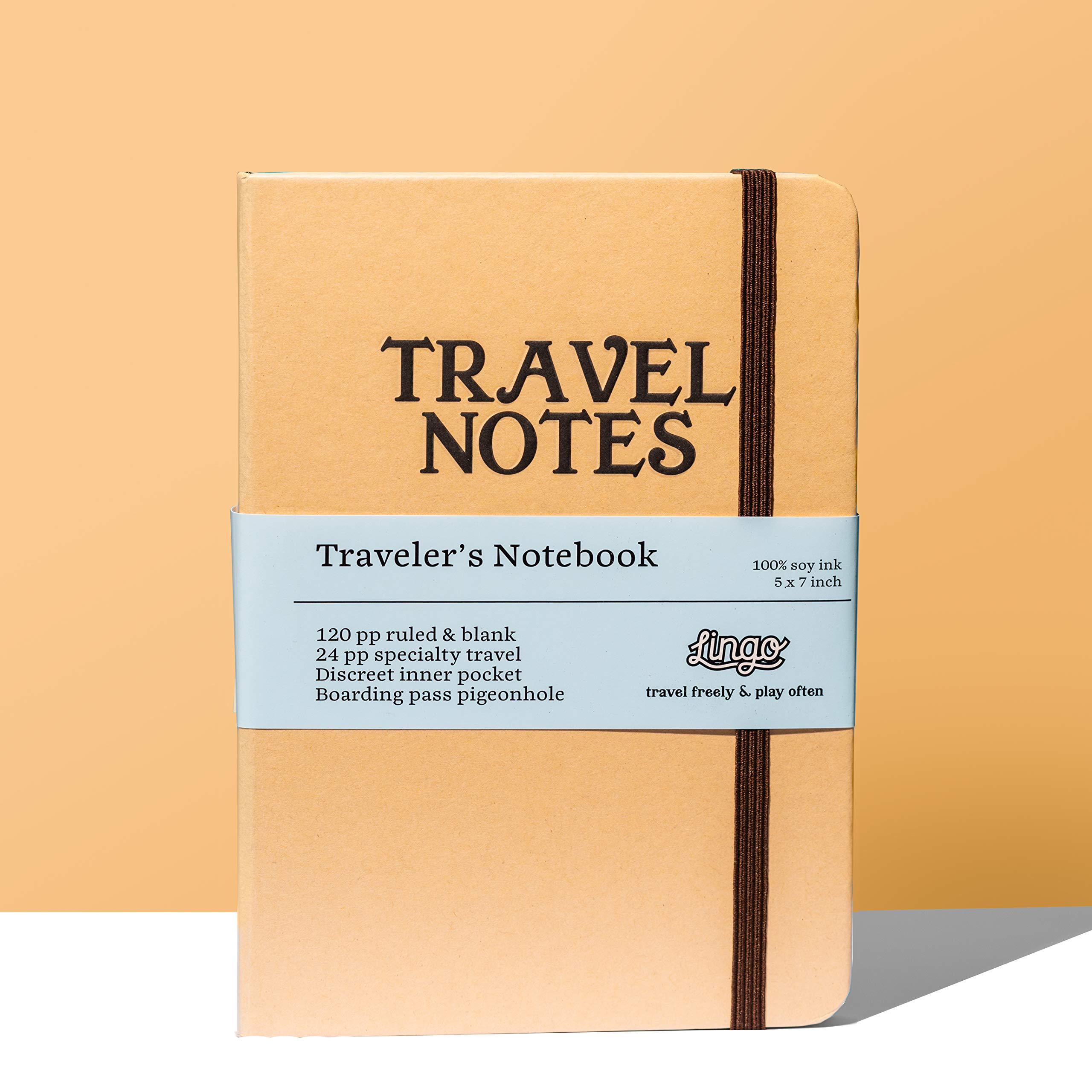 Lingo - Travel Notes - Travel Journal | Use as Diary, Notebook, Activity Planner | 144 Ruled and Blank Pages to Write, Draw, Sketch | 100% Soy Ink | Recycled Paper | Security Strap | Secret Pockets