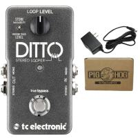 TC Electronic Ditto Stereo Looper Pedal Stereo I/O and Backing Track Option with 9V AC 1000mA Power Supply