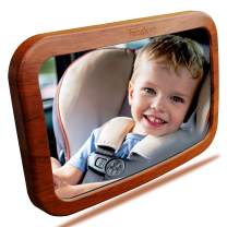 Baby Mirror for Car | Baby Car Mirror | Huge Wide-Angled Without Shaking | Rear Facing Baby View Mirror | Baby Back Seat Mirror | No Assembly Required | TPU Soft Frame by Facekyo (Red Oak Printing)