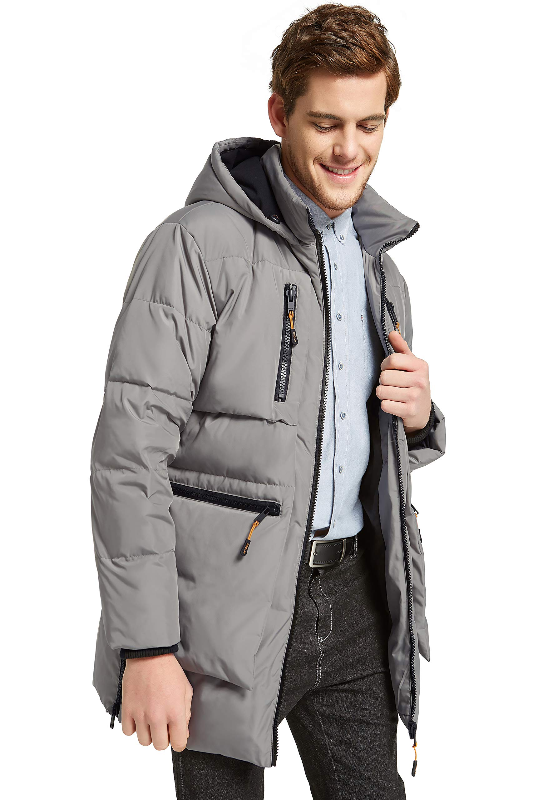 Orolay Men's Thickened Down Jacket Classical Winter Hooded Coats with Multiple Pockets