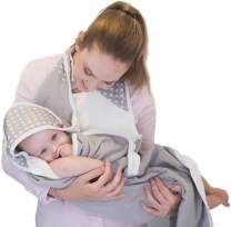 Baby-To-Love Toddler Bath Towel Extra Large 41x43 Smart Apron 100% Cotton (White Stars)