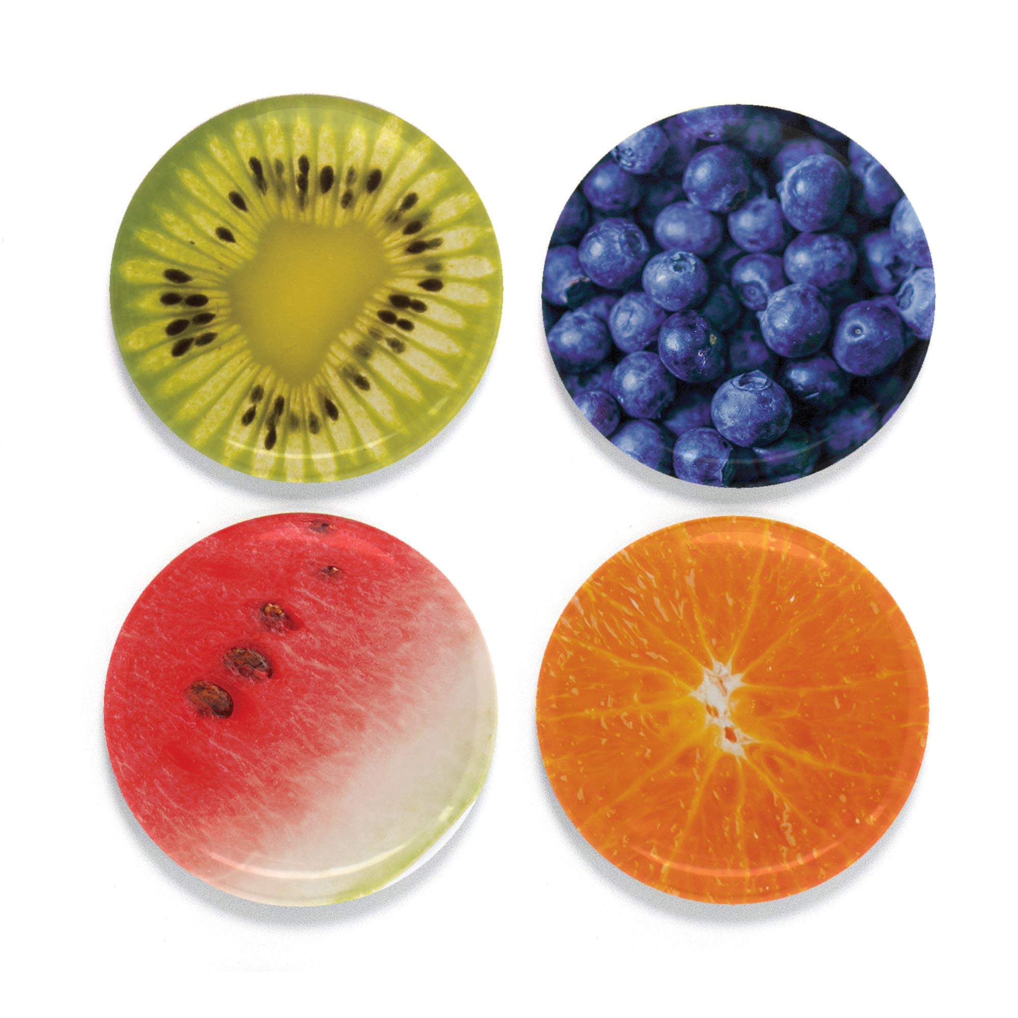 """Buttonsmith Fruit Magnet Set - Set of 4 1.25"""" Magnets - Made in the USA"""
