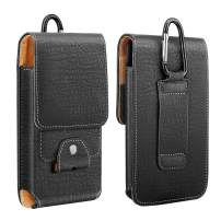 """MoKo Phone Holster, PU Leather Belt Loop Case Pouch Cover with Carabiner + Card Slot Fit 6.5"""" Phone, iPhone SE 2020/11 Pro/11/11 Pro Max/Xs Max/XR/Xs/X, Galaxy Note 10/S10e/S10/S10P/S20 - Black"""