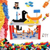 Building Bricks 1750 Pieces Set, 1020 Pieces Classic Building Blocks, 730 Pcs 3D Connection Bricks and 2 Pcs Baseplates in 10 Colors, Compatible Blocks for Ages 5 6 7 8 9 10 Year Old Boys Girls