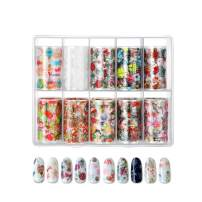 10 Colors Nail Foil Transfer Sticker, Nail Art Stickers Tips Wraps Foil Transfer Adhesive Glitter Acrylic DIY Nail Decoration (Christmas Patterns 1)